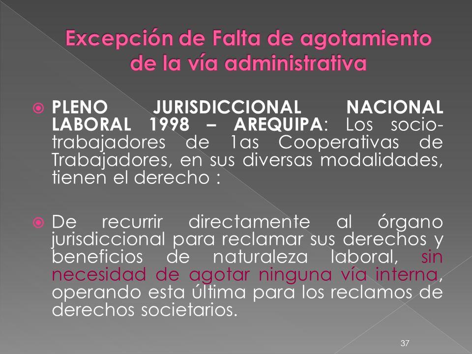 PLENO JURISDICCIONAL NACIONAL LABORAL 1998 – AREQUIPA : Los socio- trabajadores de 1as Cooperativas de Trabajadores, en sus diversas modalidades, tien