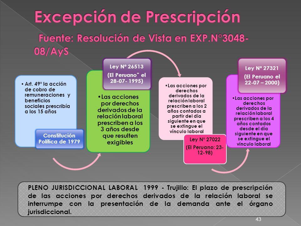 Art. 49º la acción de cobro de remuneraciones y beneficios sociales prescribía a los 15 años Constitución Política de 1979 Las acciones por derechos d