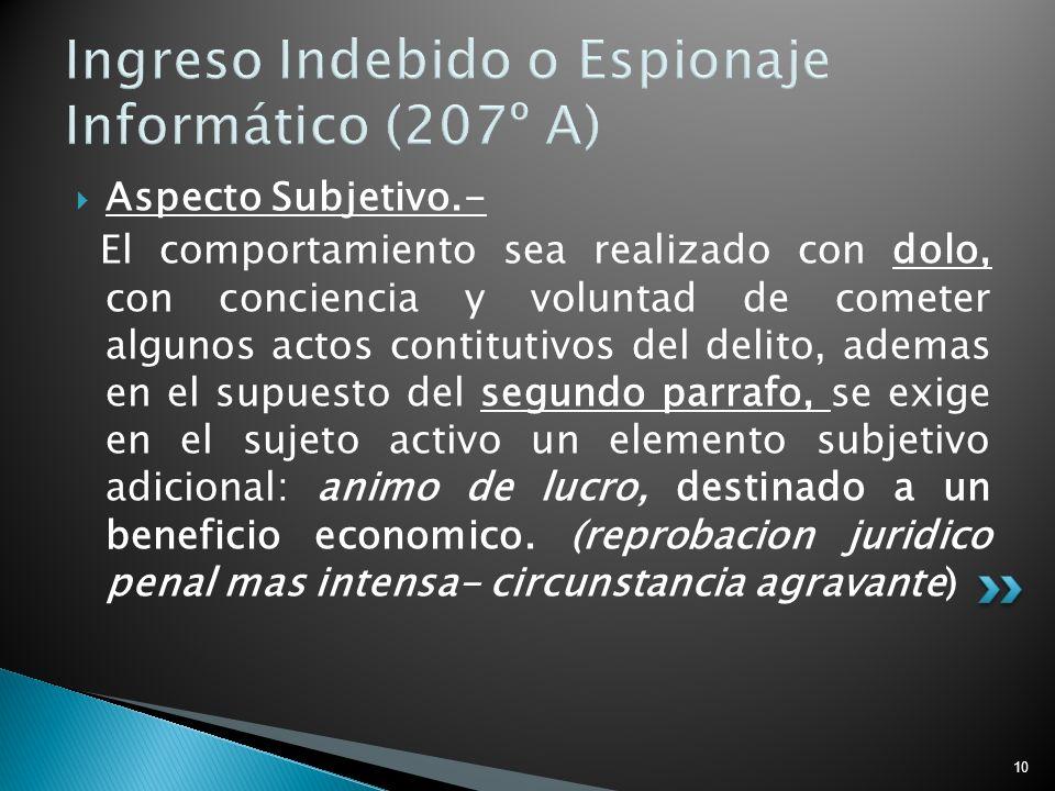 10 Ingreso Indebido o Espionaje Informático (207º A) Aspecto Subjetivo.- El comportamiento sea realizado con dolo, con conciencia y voluntad de comete