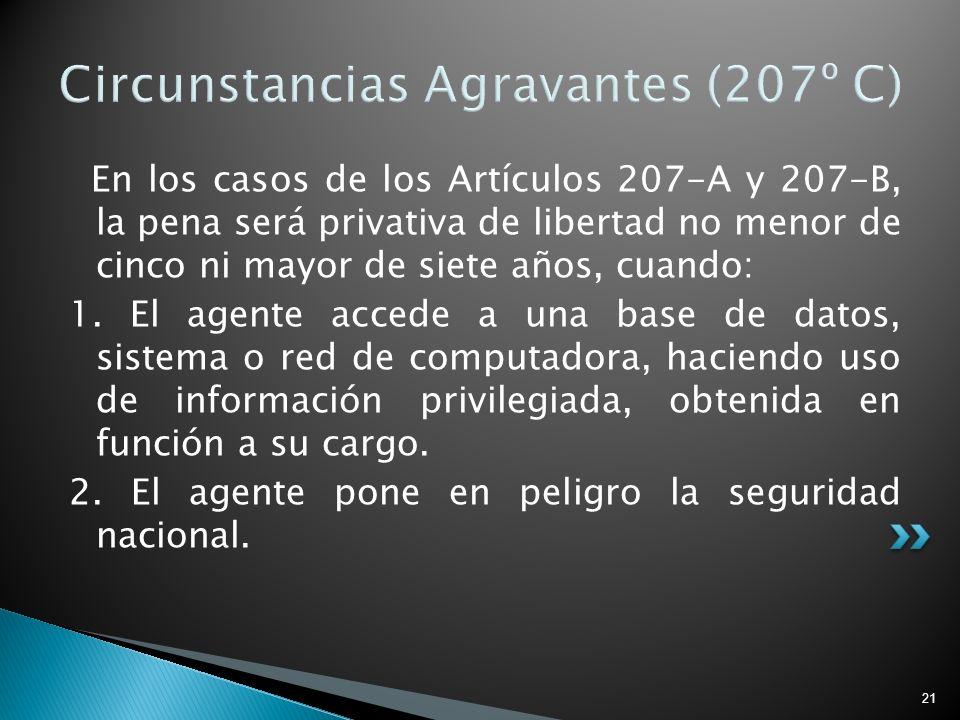 21 Circunstancias Agravantes (207º C) En los casos de los Artículos 207-A y 207-B, la pena será privativa de libertad no menor de cinco ni mayor de si