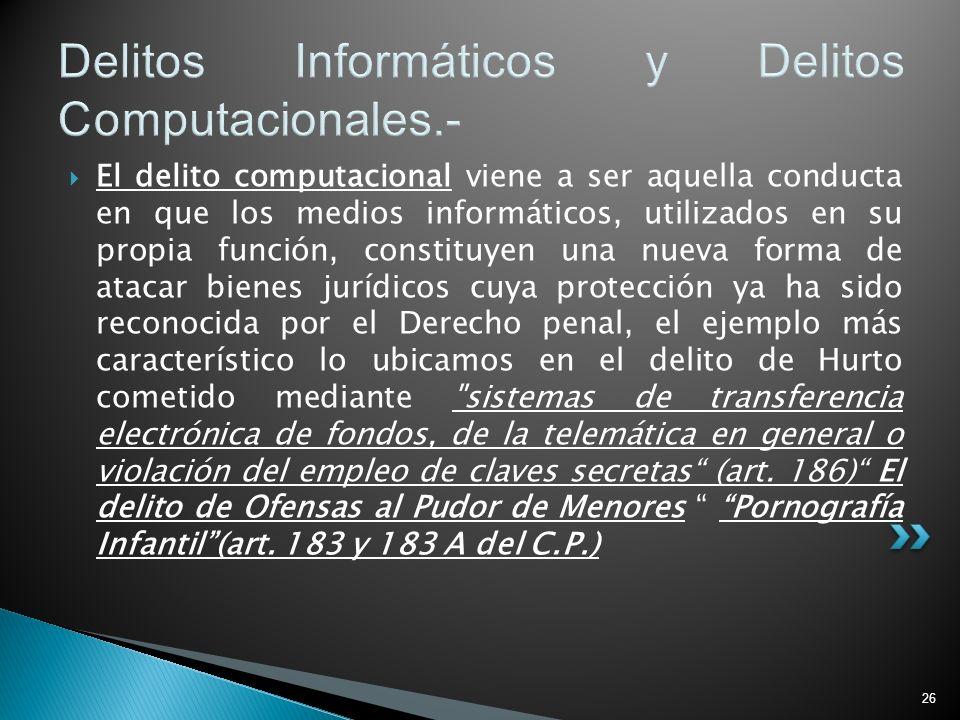 26 Delitos Informáticos y Delitos Computacionales.- El delito computacional viene a ser aquella conducta en que los medios informáticos, utilizados en