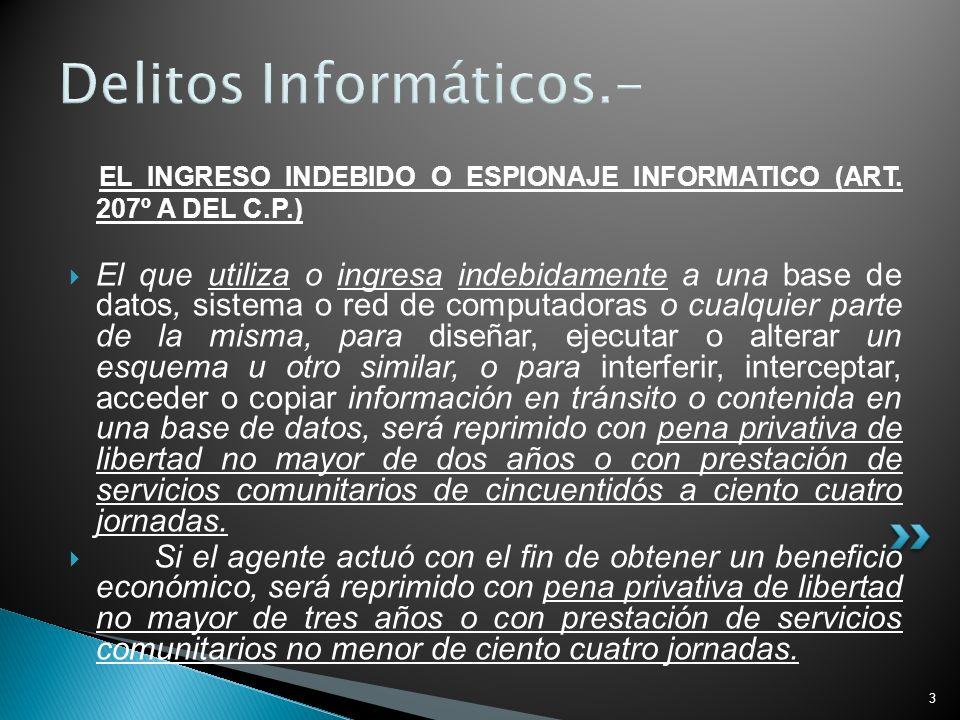 3 Delitos Informáticos.- EL INGRESO INDEBIDO O ESPIONAJE INFORMATICO (ART. 207º A DEL C.P.) El que utiliza o ingresa indebidamente a una base de datos