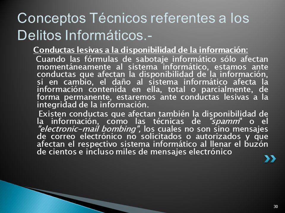 30 Conceptos Técnicos referentes a los Delitos Informáticos.- Conductas lesivas a la disponibilidad de la información: Cuando las fórmulas de sabotaje
