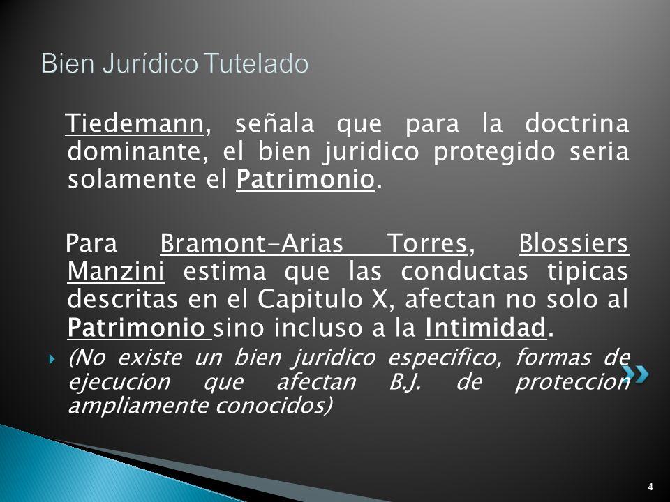 4 Bien Jurídico Tutelado Tiedemann, señala que para la doctrina dominante, el bien juridico protegido seria solamente el Patrimonio. Para Bramont-Aria