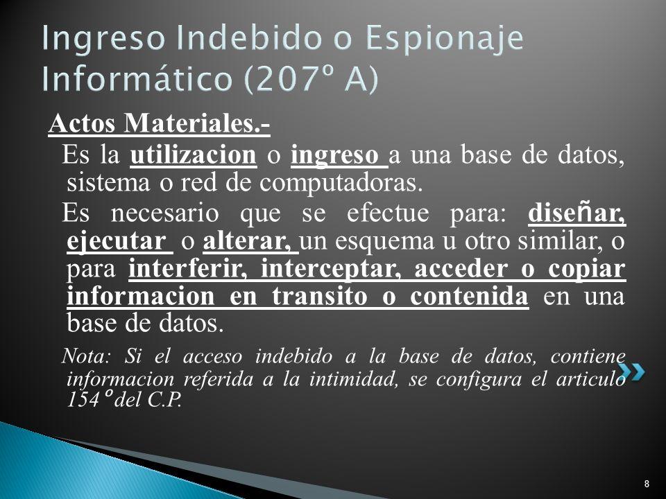 8 Ingreso Indebido o Espionaje Informático (207º A) Actos Materiales.- Es la utilizacion o ingreso a una base de datos, sistema o red de computadoras.