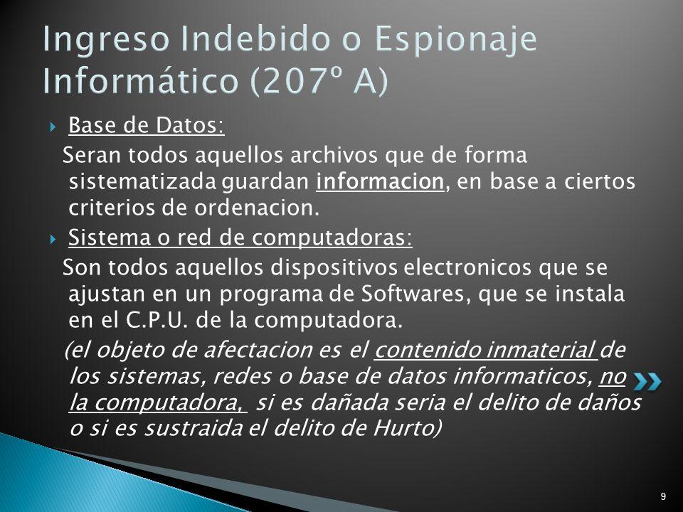 9 Ingreso Indebido o Espionaje Informático (207º A) Base de Datos: Seran todos aquellos archivos que de forma sistematizada guardan informacion, en ba