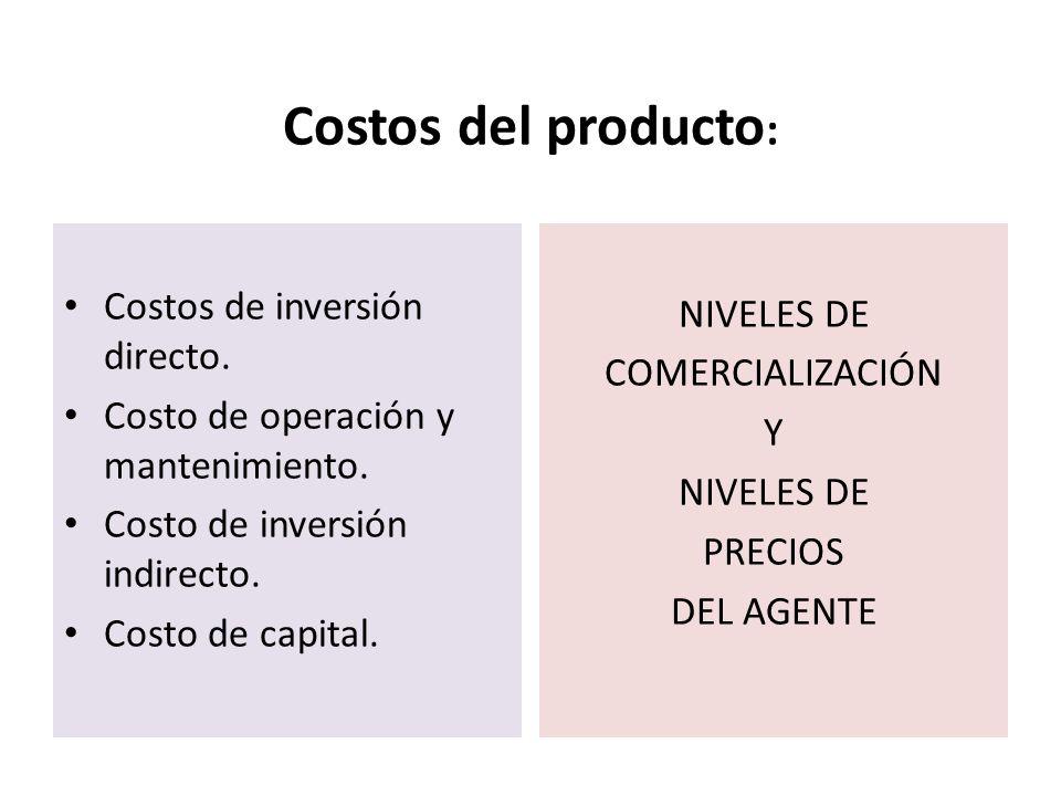 Costos del producto : Costos de inversión directo. Costo de operación y mantenimiento. Costo de inversión indirecto. Costo de capital. NIVELES DE COME