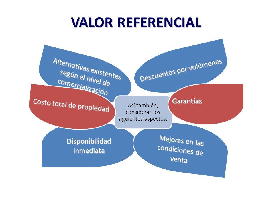 VALOR REFERENCIAL Alternativas existentes según el nivel de comercialización Descuentos por volúmenes Disponibilidad inmediata Mejoras en las condicio