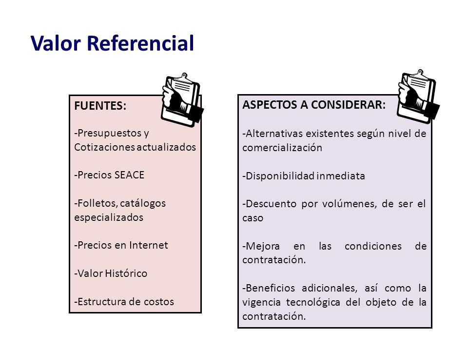 Valor Referencial FUENTES: -Presupuestos y Cotizaciones actualizados -Precios SEACE -Folletos, catálogos especializados -Precios en Internet -Valor Hi