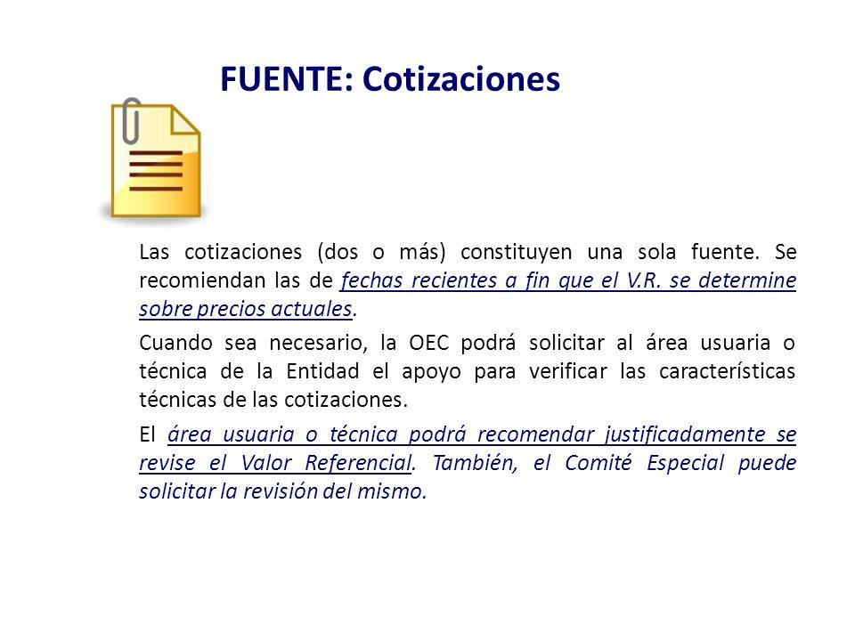 FUENTE: Cotizaciones Las cotizaciones (dos o más) constituyen una sola fuente. Se recomiendan las de fechas recientes a fin que el V.R. se determine s