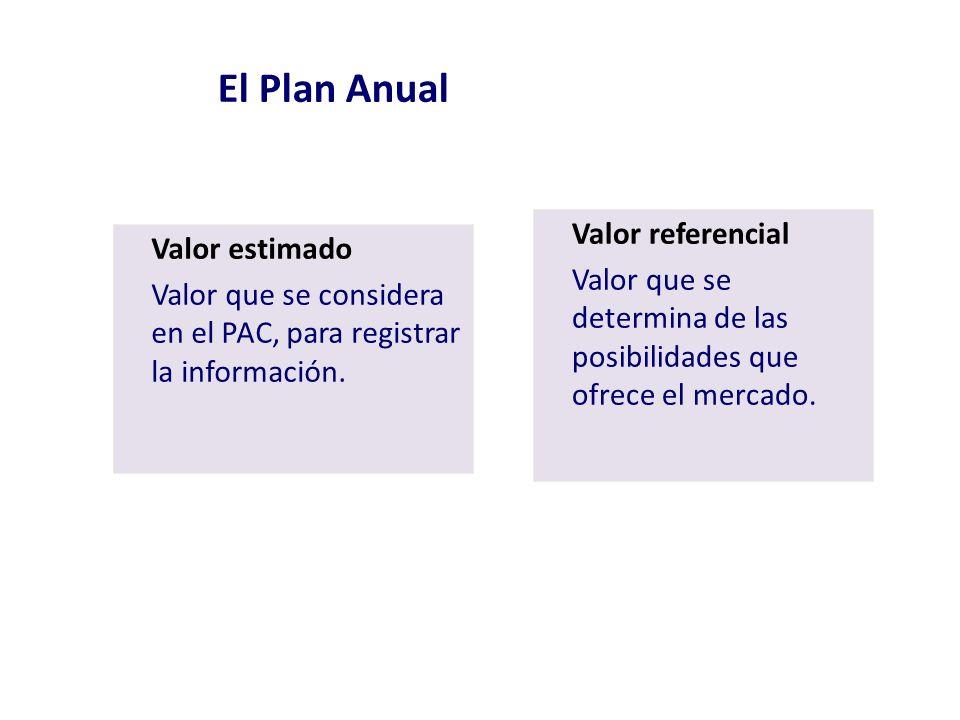 El Plan Anual Valor estimado Valor que se considera en el PAC, para registrar la información. Valor referencial Valor que se determina de las posibili