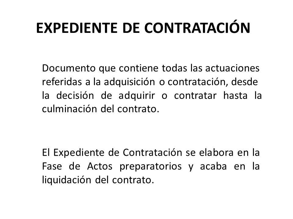 EXPEDIENTE DE CONTRATACIÓN Documento que contiene todas las actuaciones referidas a la adquisición o contratación, desde la decisión de adquirir o con