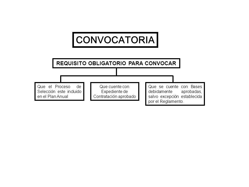 CONVOCATORIA REQUISITO OBLIGATORIO PARA CONVOCAR Que el Proceso de Selección este incluido en el Plan Anual Que cuente con Expediente de Contratación
