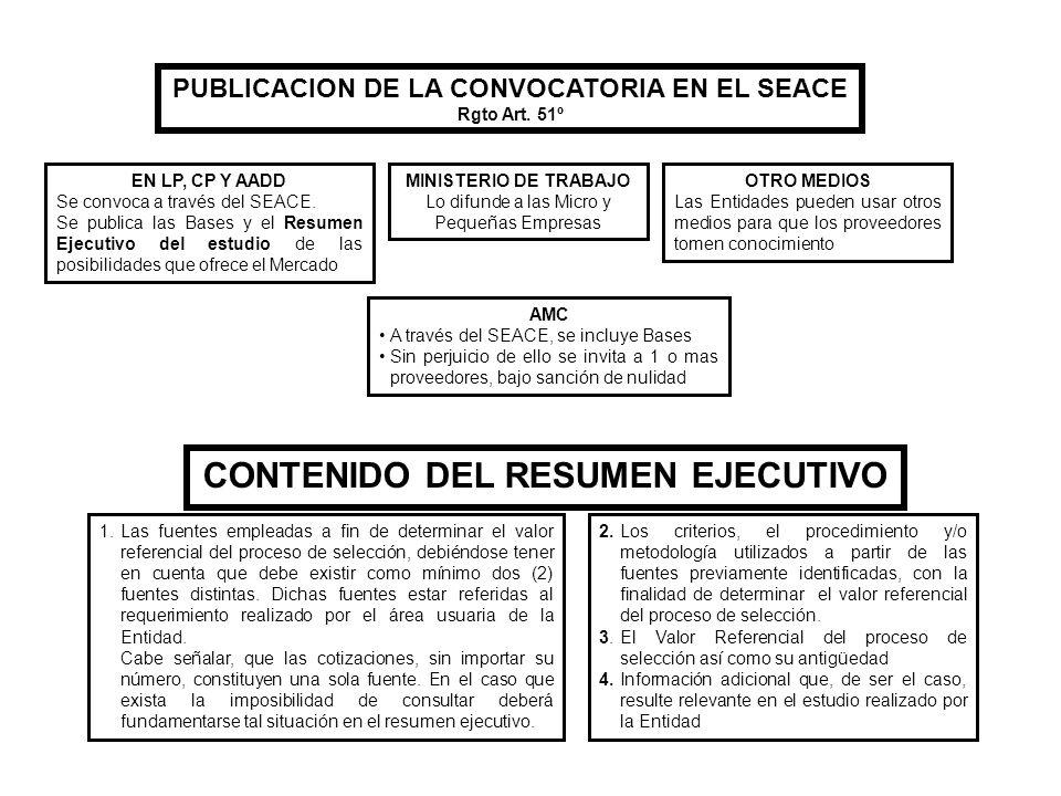 PUBLICACION DE LA CONVOCATORIA EN EL SEACE Rgto Art. 51º EN LP, CP Y AADD Se convoca a través del SEACE. Se publica las Bases y el Resumen Ejecutivo d