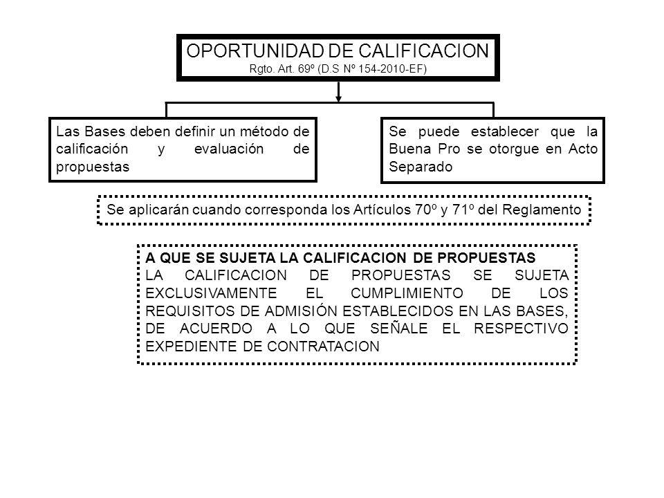 OPORTUNIDAD DE CALIFICACION Rgto. Art. 69º (D.S Nº 154-2010-EF) Las Bases deben definir un método de calificación y evaluación de propuestas Se puede