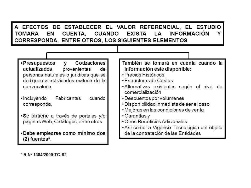 A EFECTOS DE ESTABLECER EL VALOR REFERENCIAL, EL ESTUDIO TOMARA EN CUENTA, CUANDO EXISTA LA INFORMACIÓN Y CORRESPONDA, ENTRE OTROS, LOS SIGUIENTES ELE