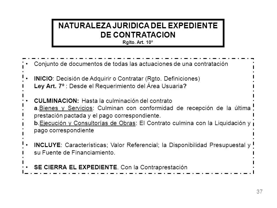 37 NATURALEZA JURIDICA DEL EXPEDIENTE DE CONTRATACION Rglto. Art. 10º Conjunto de documentos de todas las actuaciones de una contratación INICIO: Deci
