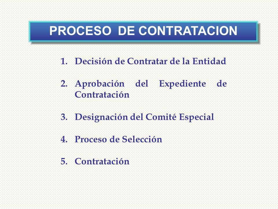 4 PROCESO DE CONTRATACION 1.Decisión de Contratar de la Entidad 2.Aprobación del Expediente de Contratación 3.Designación del Comité Especial 4.Proces