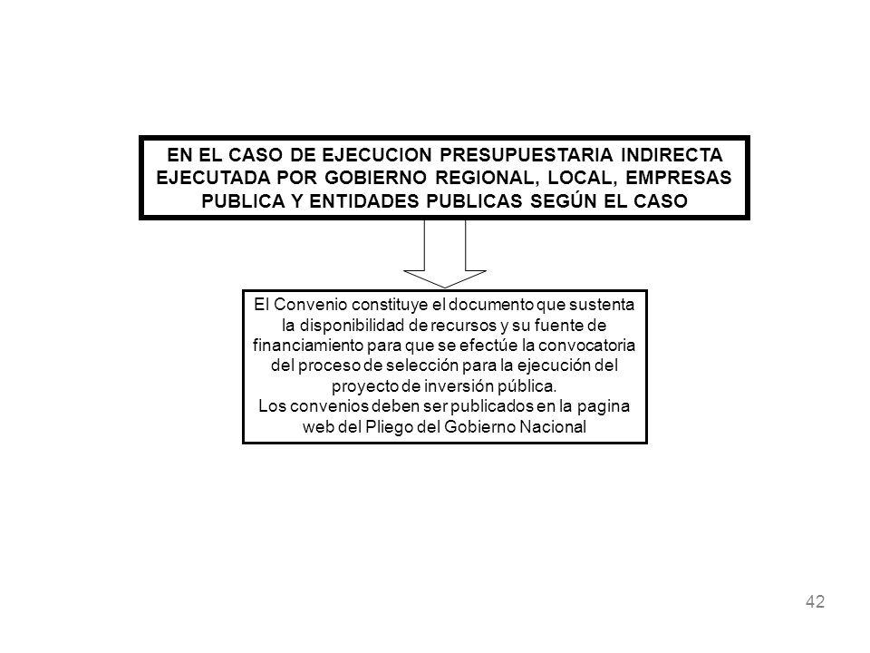 42 EN EL CASO DE EJECUCION PRESUPUESTARIA INDIRECTA EJECUTADA POR GOBIERNO REGIONAL, LOCAL, EMPRESAS PUBLICA Y ENTIDADES PUBLICAS SEGÚN EL CASO El Con