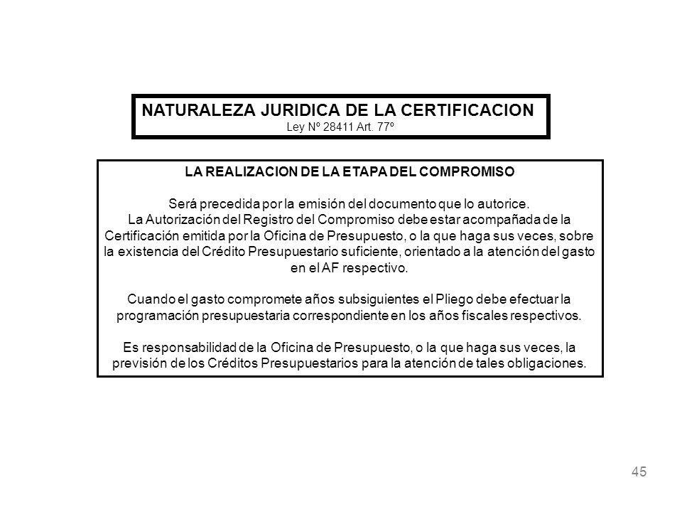 45 NATURALEZA JURIDICA DE LA CERTIFICACION Ley Nº 28411 Art. 77º LA REALIZACION DE LA ETAPA DEL COMPROMISO Será precedida por la emisión del documento