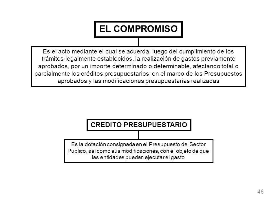 46 EL COMPROMISO Es el acto mediante el cual se acuerda, luego del cumplimiento de los trámites legalmente establecidos, la realización de gastos prev