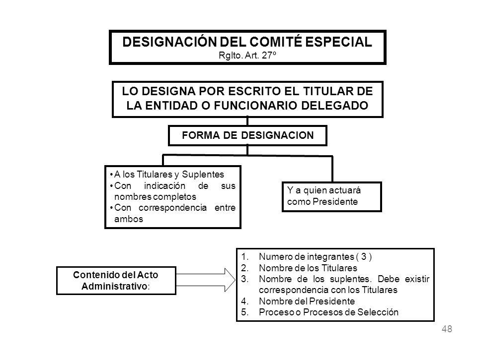 48 DESIGNACIÓN DEL COMITÉ ESPECIAL Rglto. Art. 27º Contenido del Acto Administrativo: 1.Numero de integrantes ( 3 ) 2.Nombre de los Titulares 3.Nombre