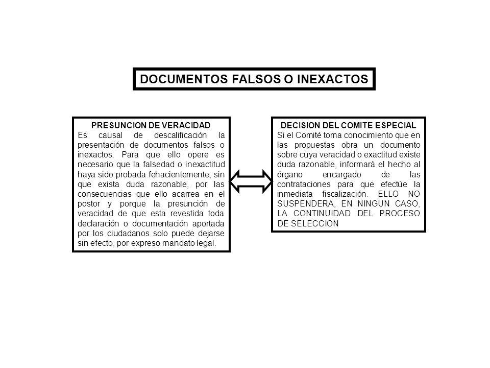 DOCUMENTOS FALSOS O INEXACTOS PRESUNCION DE VERACIDAD Es causal de descalificación la presentación de documentos falsos o inexactos. Para que ello ope