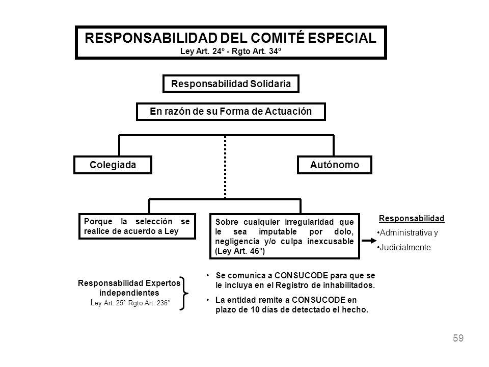 59 RESPONSABILIDAD DEL COMITÉ ESPECIAL Ley Art. 24º - Rgto Art. 34º En razón de su Forma de Actuación ColegiadaAutónomo Responsabilidad Solidaria Porq