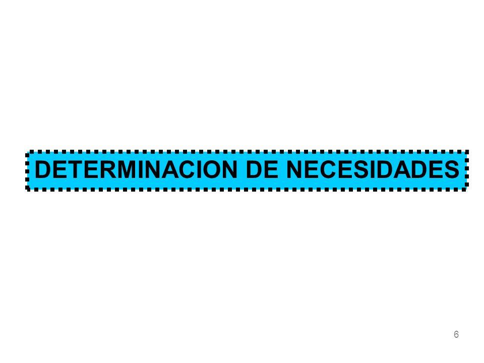 6 DETERMINACION DE NECESIDADES