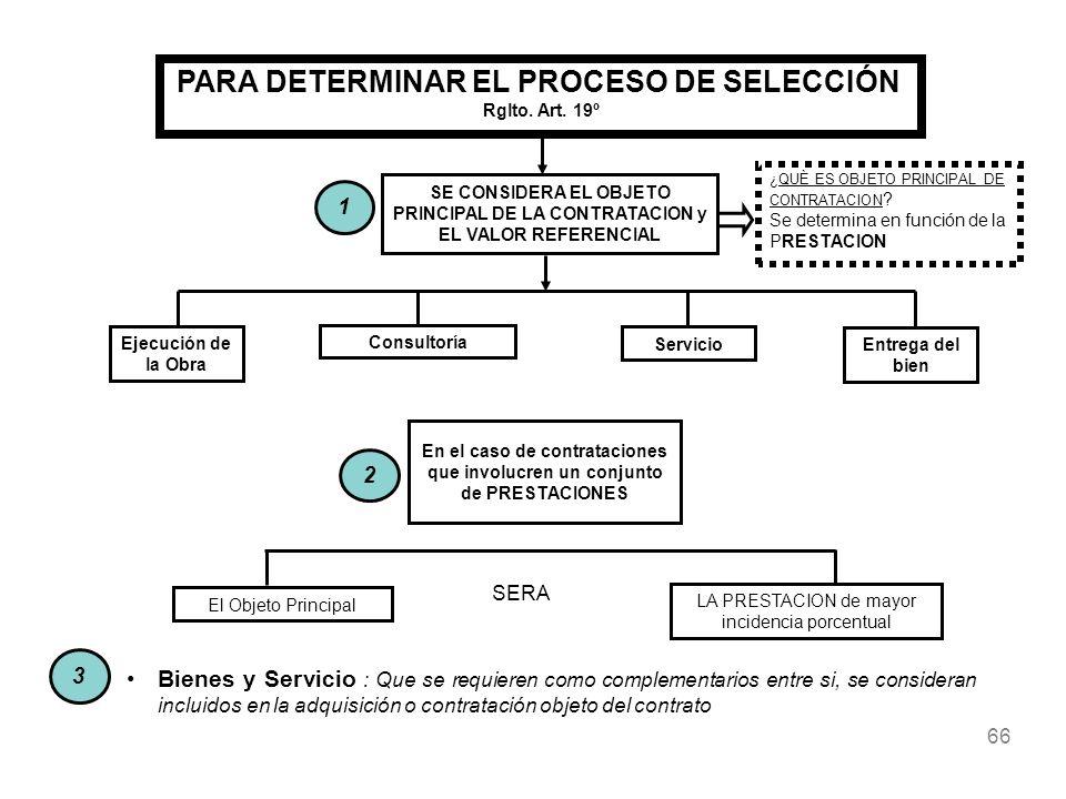 66 SE CONSIDERA EL OBJETO PRINCIPAL DE LA CONTRATACION y EL VALOR REFERENCIAL Ejecución de la Obra Consultoría Servicio Entrega del bien En el caso de