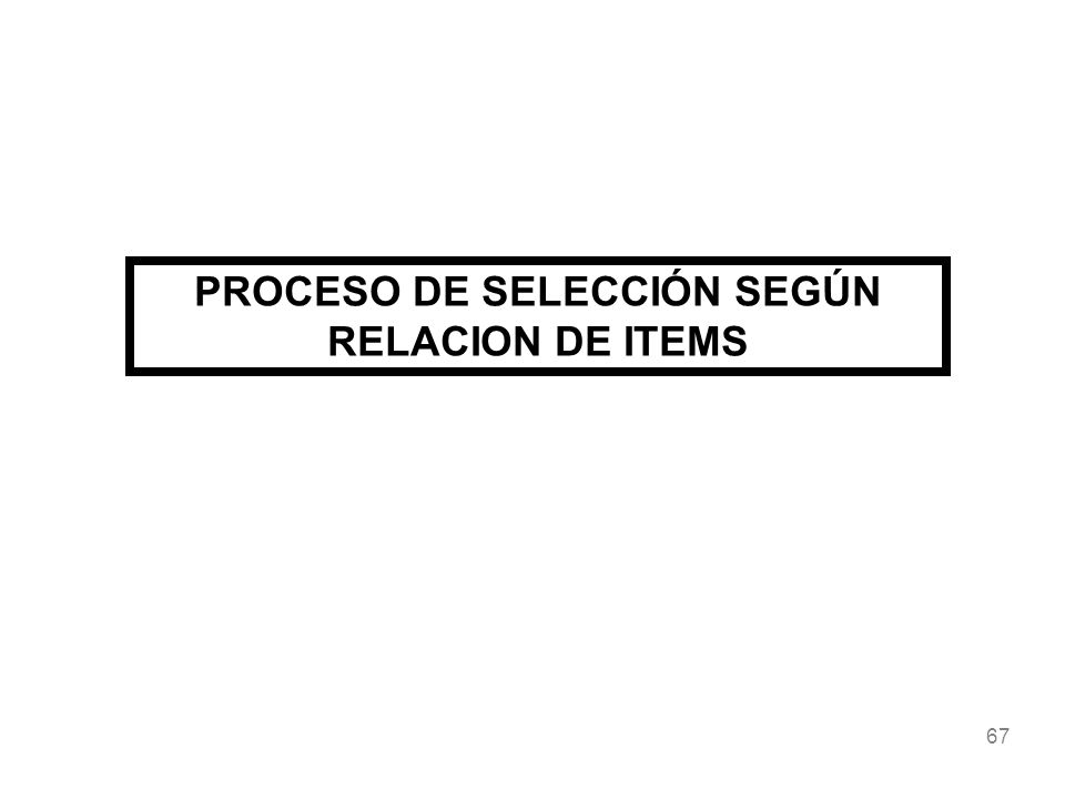 67 PROCESO DE SELECCIÓN SEGÚN RELACION DE ITEMS