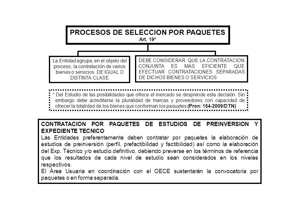 PROCESOS DE SELECCION POR PAQUETES Art. 19º La Entidad agrupa, en el objeto del proceso, la contratación de varios bienes o servicios DE IGUAL O DISTI