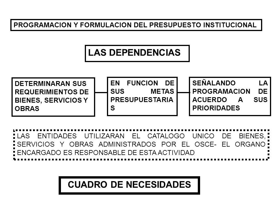 PROGRAMACION Y FORMULACION DEL PRESUPUESTO INSTITUCIONAL LAS DEPENDENCIAS DETERMINARAN SUS REQUERIMIENTOS DE BIENES, SERVICIOS Y OBRAS EN FUNCION DE S