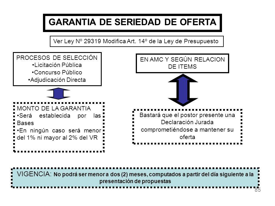 85 GARANTIA DE SERIEDAD DE OFERTA PROCESOS DE SELECCIÓN Licitación Pública Concurso Público Adjudicación Directa MONTO DE LA GARANTIA Será establecida