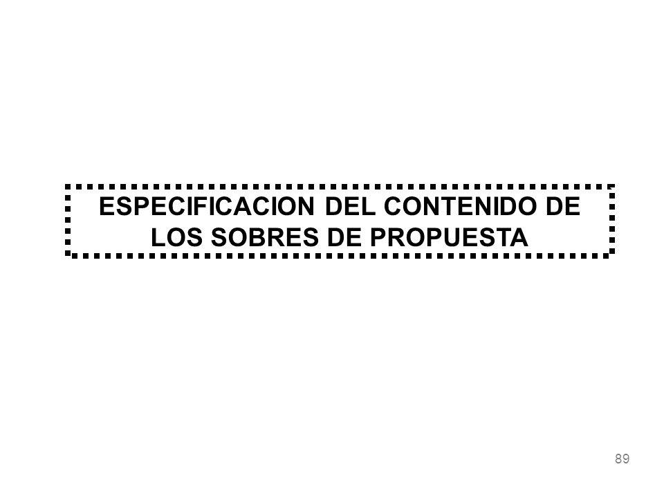 89 ESPECIFICACION DEL CONTENIDO DE LOS SOBRES DE PROPUESTA