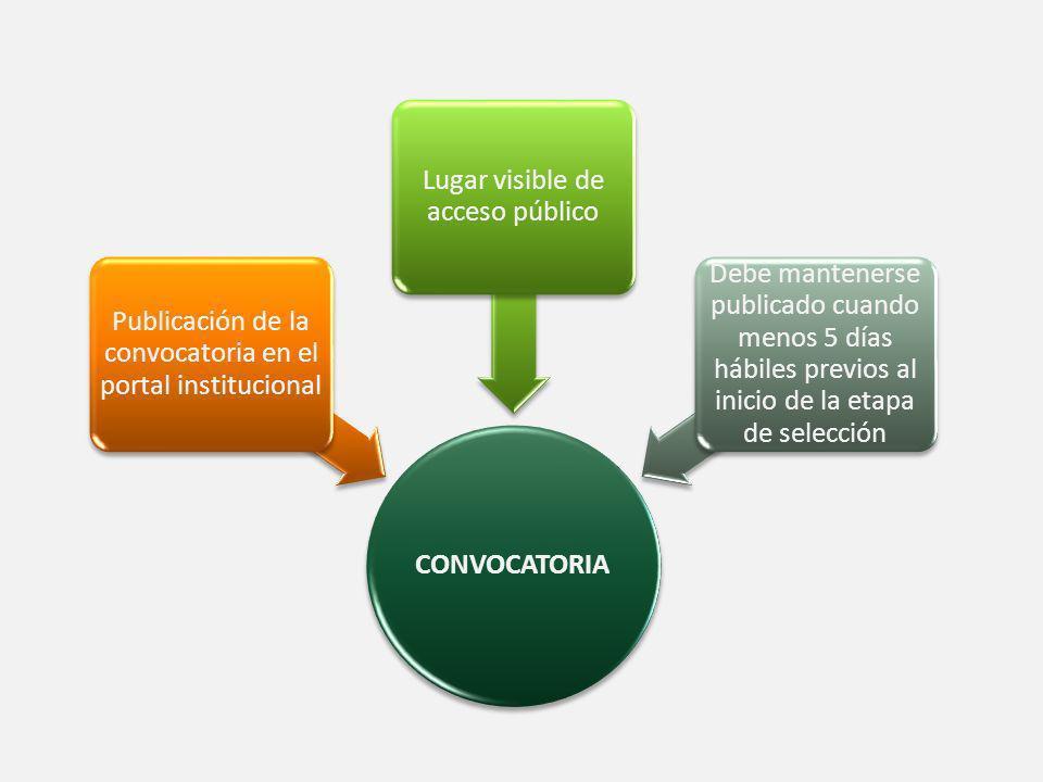 SELECCIÓN Evaluación objetiva Evaluación curricular Evaluación escrita o entrevista (a criterio) Otras que estime necesarias.