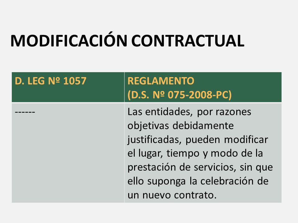 Decreto Supremo N° 075-2008-PCM Artículo 7.- Modificación contractual Las entidades, por razones objetivas debidamente justificadas, pueden modificar el lugar, tiempo y modo de la prestación de servicios, sin que ello suponga la celebración de un nuevo contrato.