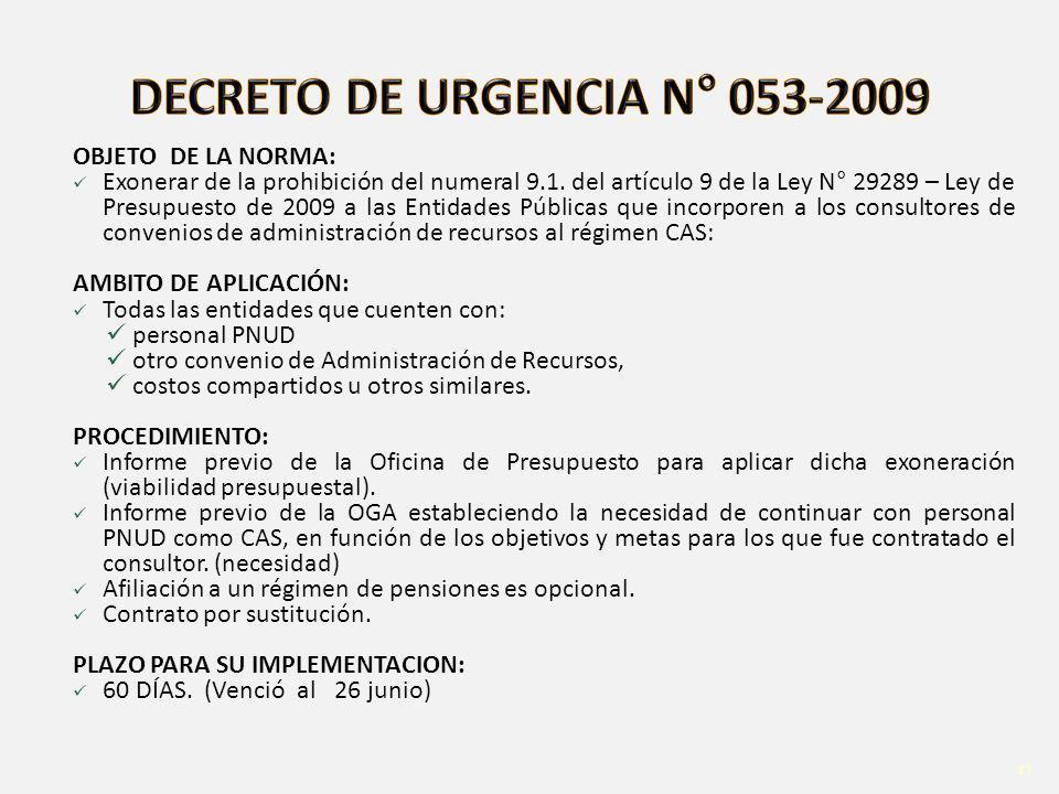 48 OBJETO DE LA NORMA: Exonerar de la prohibición del numeral 9.1.