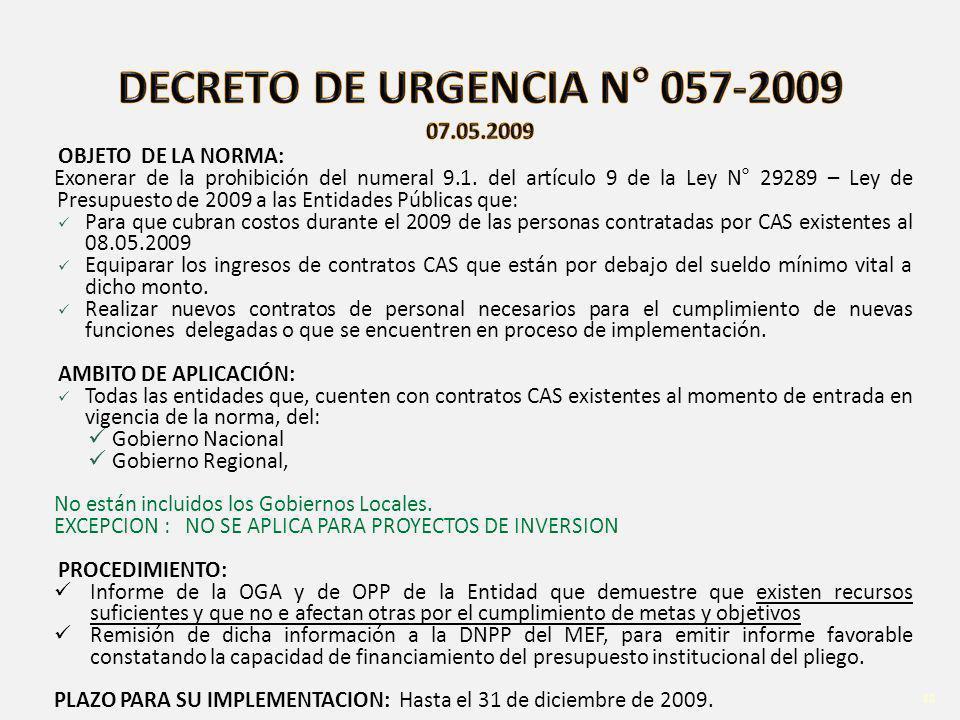 D.U. 038-2006 Ley N° 29289 – Ley de Presupuesto de 2009 a las Entidades Públicas