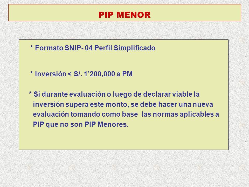 PIP MENOR * Formato SNIP- 04 Perfil Simplificado * Inversión < S/. 1200,000 a PM * Si durante evaluación o luego de declarar viable la inversión super