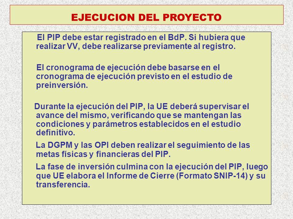 EJECUCION DEL PROYECTO El PIP debe estar registrado en el BdP. Si hubiera que realizar VV, debe realizarse previamente al registro. El cronograma de e