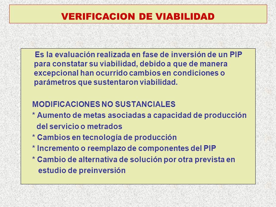 VERIFICACION DE VIABILIDAD Es la evaluación realizada en fase de inversión de un PIP para constatar su viabilidad, debido a que de manera excepcional han ocurrido cambios en condiciones o parámetros que sustentaron viabilidad.