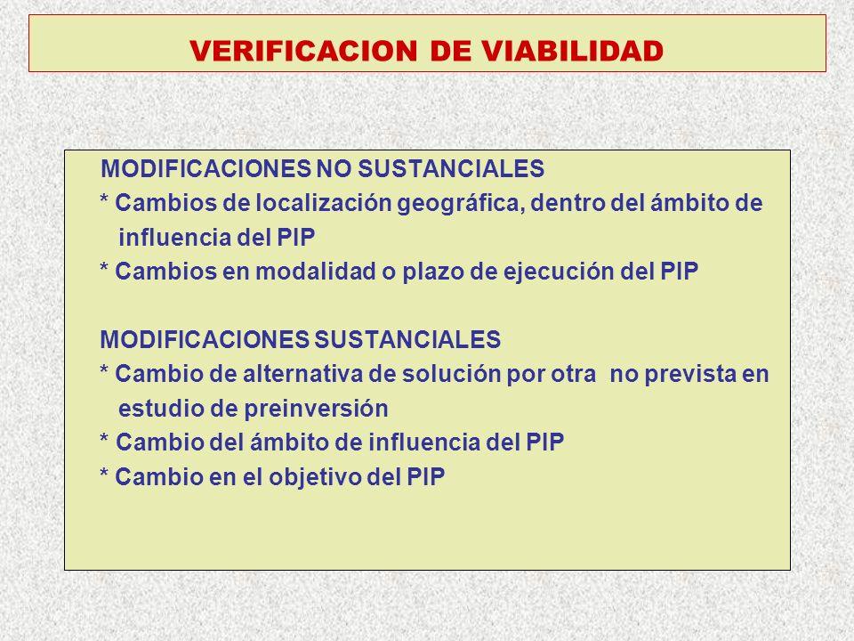 VERIFICACION DE VIABILIDAD MODIFICACIONES NO SUSTANCIALES * Cambios de localización geográfica, dentro del ámbito de influencia del PIP * Cambios en m