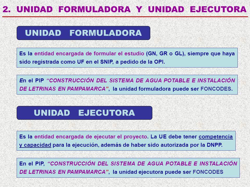 2. UNIDAD FORMULADORA Y UNIDAD EJECUTORA Es la entidad encargada de formular el estudio (GN, GR o GL), siempre que haya sido registrada como UF en el