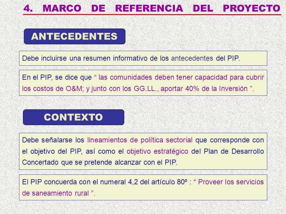 4. MARCO DE REFERENCIA DEL PROYECTO Debe incluirse una resumen informativo de los antecedentes del PIP. ANTECEDENTES CONTEXTO Debe señalarse los linea