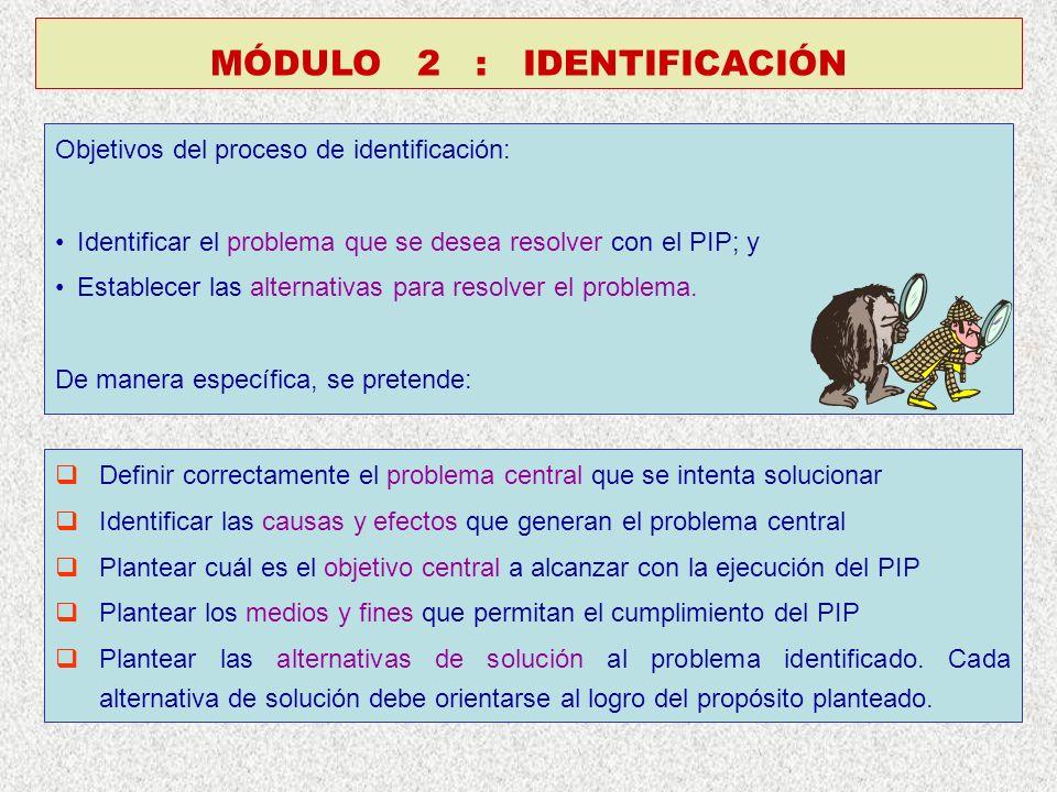 Objetivos del proceso de identificación: Identificar el problema que se desea resolver con el PIP; y Establecer las alternativas para resolver el problema.