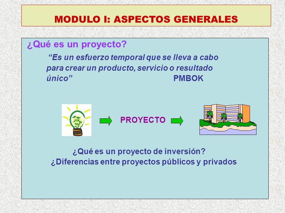 MODULO I: ASPECTOS GENERALES ¿Qué es un proyecto? Es un esfuerzo temporal que se lleva a cabo para crear un producto, servicio o resultado único PMBOK