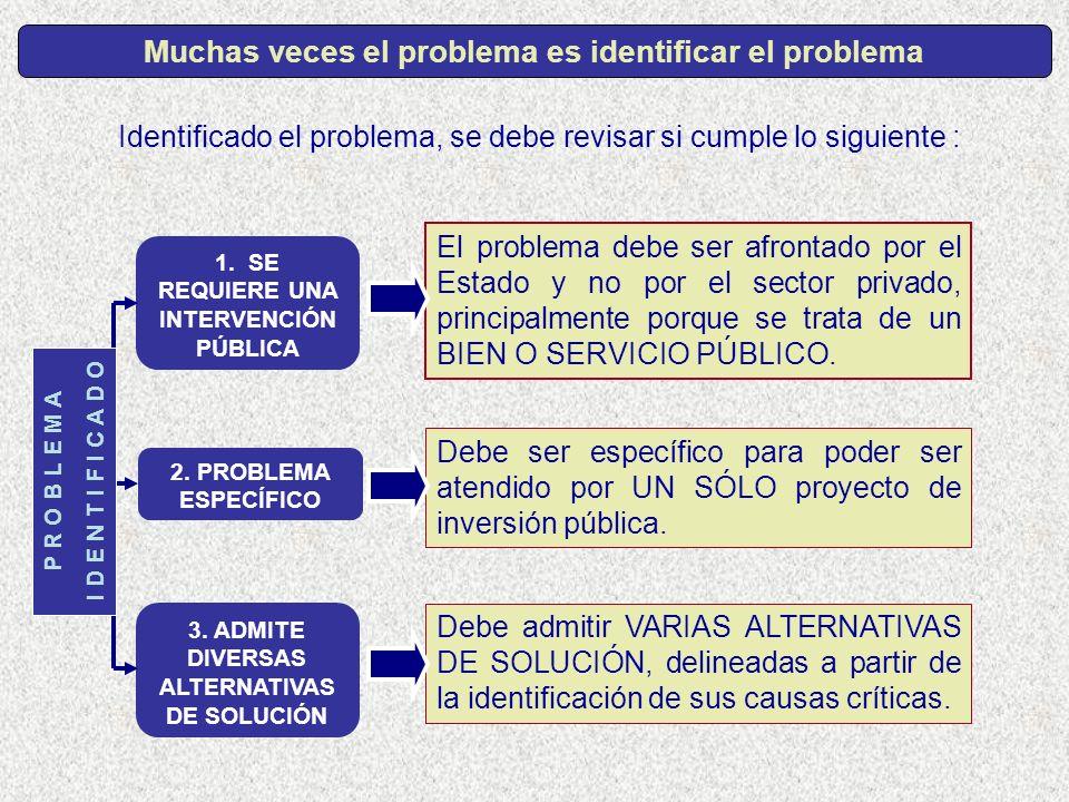 Identificado el problema, se debe revisar si cumple lo siguiente : El problema debe ser afrontado por el Estado y no por el sector privado, principalm
