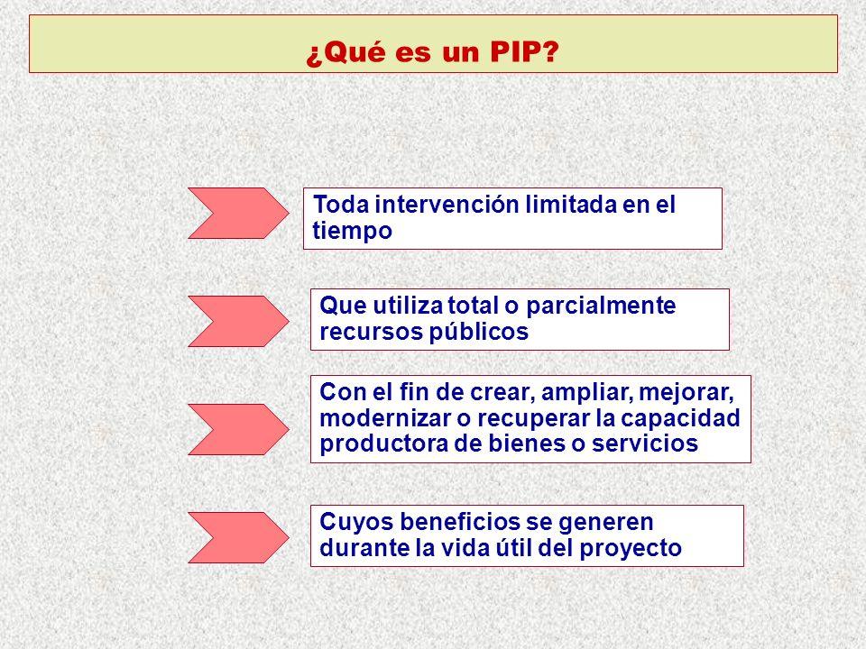 ¿Qué es un PIP? Toda intervención limitada en el tiempo Que utiliza total o parcialmente recursos públicos Con el fin de crear, ampliar, mejorar, mode