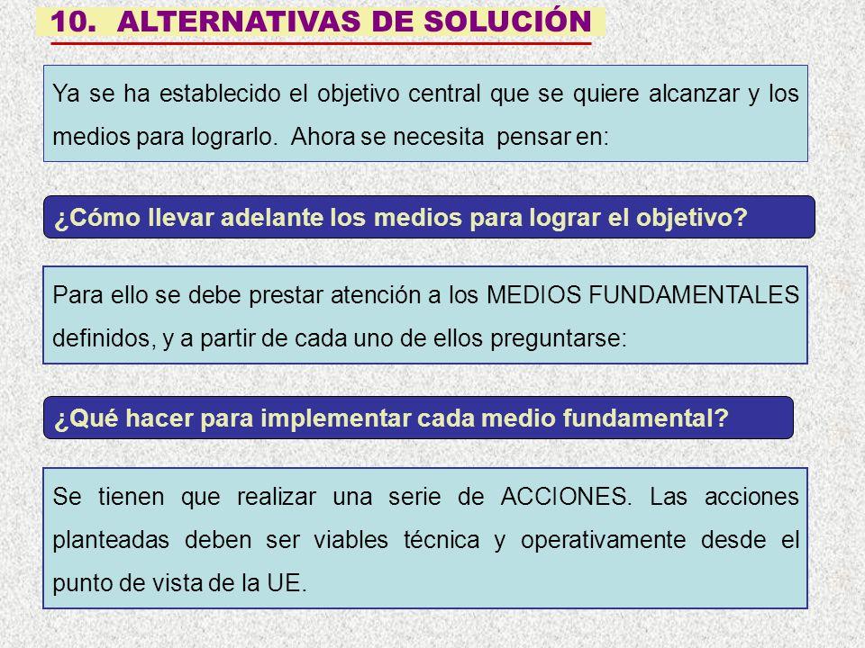 10. ALTERNATIVAS DE SOLUCIÓN Se tienen que realizar una serie de ACCIONES. Las acciones planteadas deben ser viables técnica y operativamente desde el